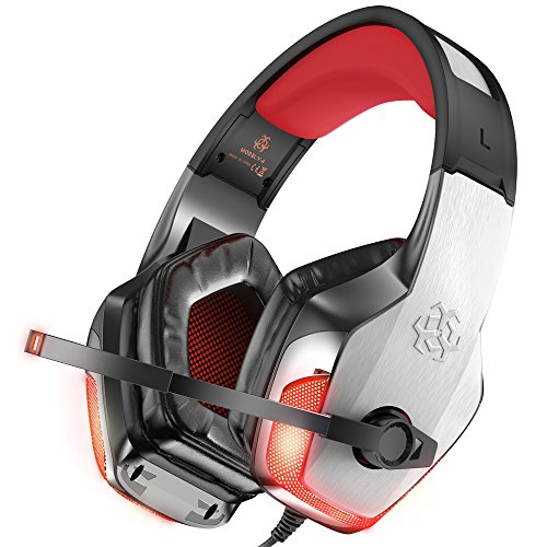 BENGOO V-4 Gaming Headset for Xbox One, PS4, PC, Controller, Noise Cancelling Over Ear Headphones Mic, LED Light Bass Surround Soft Memory Earmuffs for Computer Laptop Mac Nintendo Switch -Red (Games Like World Of Warcraft For Mac)