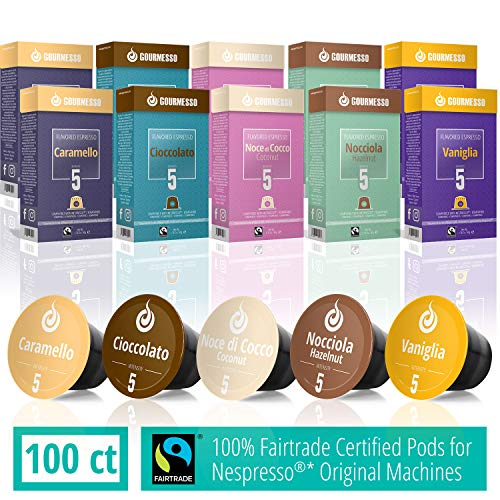 Gourmesso Flavor Bundle - 100 Coffee Capsules Compatible with Nespresso Machines - 100% Fair Trade | Includes Vanilla, Caramel, Chocolate, Hazelnut, and Coconut Flavored Espresso Pods (Best Nespresso Capsules Alternative)