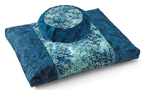 DharmaCrafts Joyful Yogi Batik ZZSet – Zafu and Zabuton Meditation Cushions – Yoga Pillows (Turquoise Lagoon)