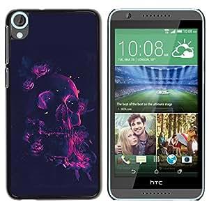 TECHCASE**Cubierta de la caja de protección la piel dura para el ** HTC Desire 820 ** Neon Rose Pink Skull