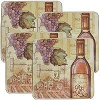 Range Kleen 5736 Set of Four Square Burner Kovers in a Tuscany Wine Pattern, 4-Pack