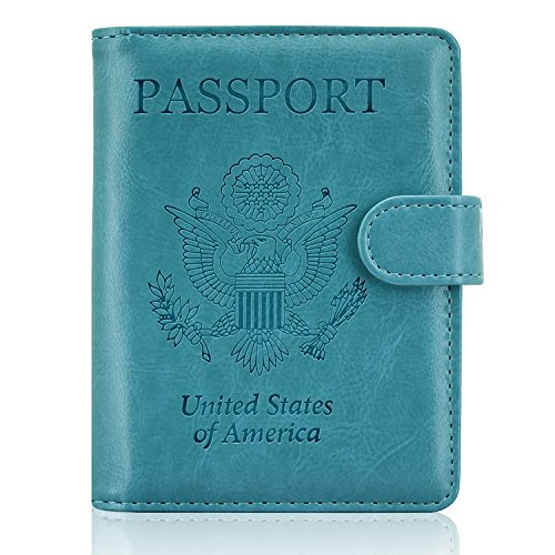 ACdream Leather Passport Holder Bonus Stylus Cover Case RFID Blocking Travel Wallet with Magnet Closure, Sky Blue]()