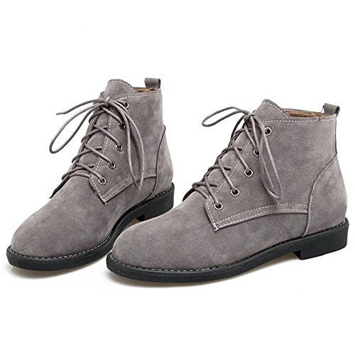 Donna Gray Casual Basse Short TAOFFEN Stringate Stivali Boots wqn04Z8xtg