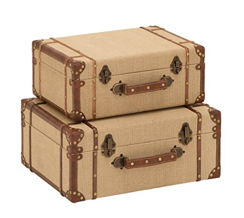 (Deco 79 Wood Burlap Suitcase, 17 and 15-Inch, Set of)