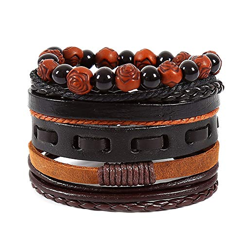 Multi Layer Suits - XBKPLO Bracelets Vintage Mix 4-Piece Suit Mens Womens DIY Rattan Braided Beaded Leather Multi-Layer Adjustable Cuff