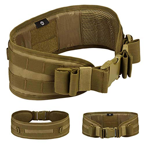 Selighting MOLLE Tactical Belts Padded Airsoft Combat Battle Belts Heavy Duty Police Utility Belt Riggers Safety Patrol Waist Belts for Hunting Shooting Games (Brown, One Size)