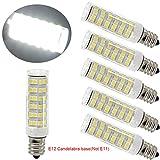 75w type a bulb daylight - Ulight Led E12 led light bulb 120V, 6000K Daylight White 6W Led E12 Candelabra Screw base, Xenon T4 JD type led halogen bulb replacement 50W or 60W with 550lm-5packs (Daylight White 6000K)