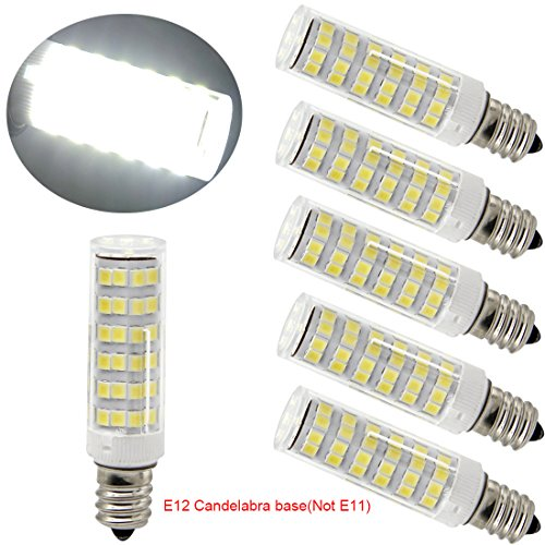 Ulight Led E12 led light bulb 120V, 6000K Daylight White 6W Led E12 Candelabra Screw base, Xenon T4 JD type led halogen bulb replacement 50W or 60W with 550lm-5packs (Daylight White 6000K)