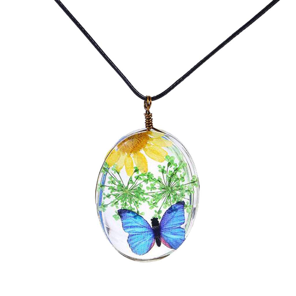 CliPons Handcrafted Dry Pressed Sun Flower Pendant Necklaces Butterfly Green Flowers for Girls Gifts