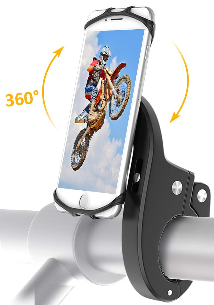 Bike Mount, Bovon Universal Bicycle Phone Holder, Adjustable Silicone Bike Handlebar Rack for iPhone X 8 7 6 6S Plus, Samsung Galaxy S9 S8 Plus and Most 4.7''-6.3'' Smart phones (black)