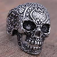 Nongkhai shop 316L Stainless Steel Mens Punk Floral Ghost Skull Biker Ring US Size 8-11 Cool (10)