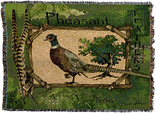 Pure Country Weavers - Pheasant Feathers Lodge Cabin Hunting Decor Woven Tapestry Throw Blanket with Fringe Cotton USA Size 50x72