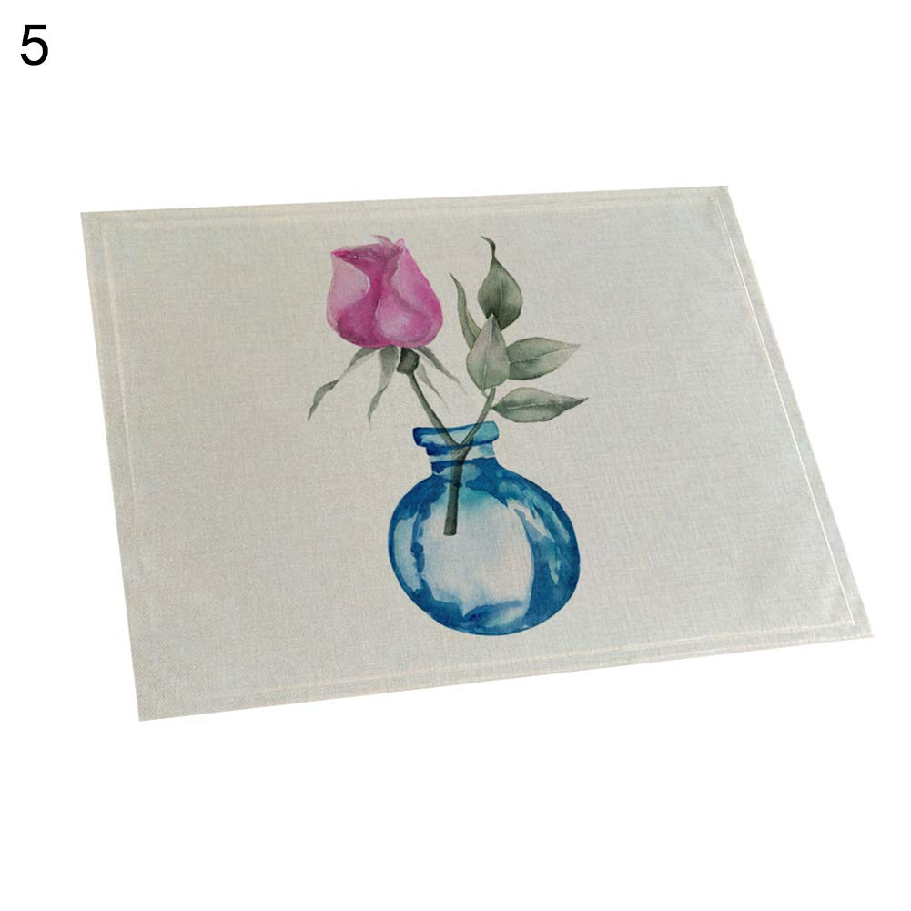 memorytime Flower Bottle Heat Insulated Pad Kitchen Dining Table Tableware Mat Placemat Kitchen Dining Supplies - 5#