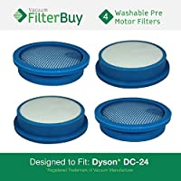 4- Dyson DC24 (DC-24) Pre Motor Washable & Reusable Replacement Filters, Part # 913788-01 & 919777-02. Designed by FilterBuy to fit Dyson DC-24 Ball Upright Vacuums