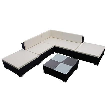 Amazoncom Vidaxl Outdoor Lounge Set Poly Rattan Wicker Black