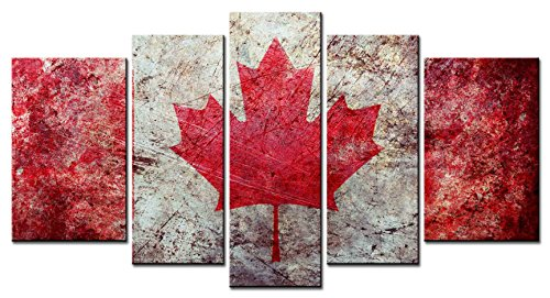 (SmartWallArt - Culture Series Home Decor Artwork Maple Leaf Flag Canadian Flag Artistic Wall Art 5 Piece Paintngs Print on Canvas Framed for Living Room)