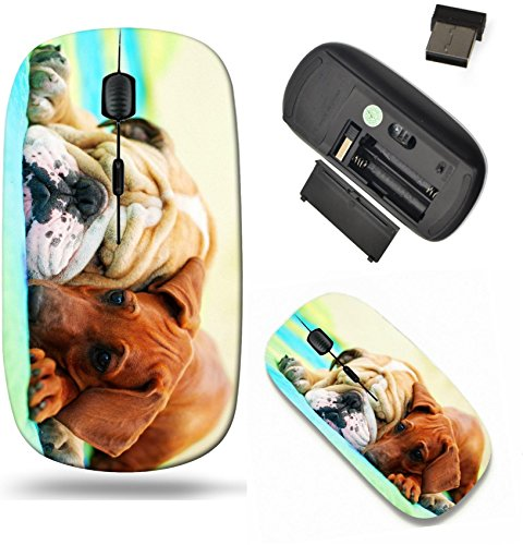 Liili Wireless Mouse Travel 2.4G Wireless Mice with USB Receiver, Click with 1000 DPI for notebook, pc, laptop, computer, mac book Rhodesian ridgeback puppy and english bulldog best dog friends relaxi Best Friend Bulldog