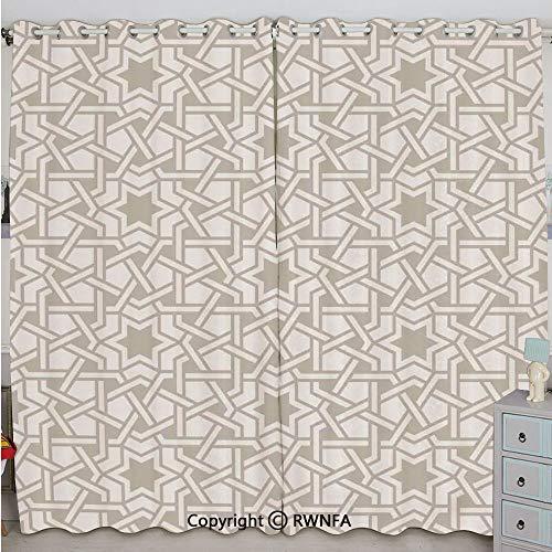 Justin Harve window Tangled Modern Simplistic Artwork Based on Traditional Oriental Arabic Patterns Print Bedroom Blackout Curtains Set of 2 Panels(84