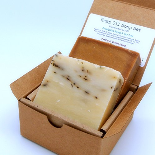 Hemp Oil Soap Set (2 Full Size Bars) - Eucalyptus Tee Tree Peppermint, Patchouli Vanilla - Great for DRY/SENSITIVE Skin - Handmade in USA with ALL Natural, Non-GMO -
