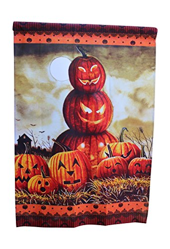 Discount Halloween Yard Decorations (House Flag Yard Decoration; 28 inches by 40 inches (Halloween Jack-o'-lantern))