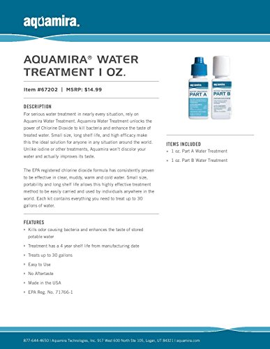 Aquamira - Chlorine Dioxide Water Treatment Two Part Liquid - 1 oz Bottles with Dropper Lid