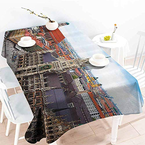 GOMAE Creative Rectangle Tablecloth Wanderlust Decor Collection City Centre View of Marienplatz New Town Hall Glockenspiel Facade Rooftop Sightseeing Image Grey Orange Buffet,Parties,Picnic 40x60 (World Trade Center Woman In The Hole)