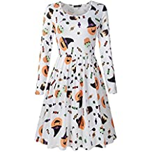 Veranee Women's Long Sleeve Scoop Neck Pleated Floral Flare T-Shirt Dress