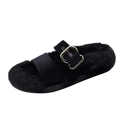 Women Ladies Slip On Slider Womens Fashion Fluffy Plush Slipper Strap Buckle Flat Sandal Indoor Outdoor