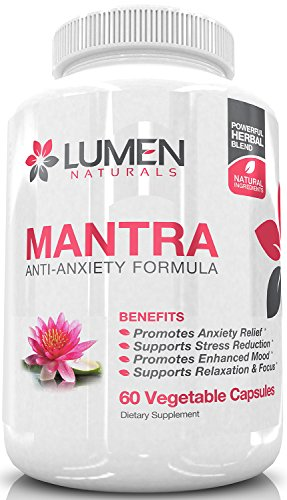 Mantra Anti-Anxiety Formula - Powerful Natural Anxiety Relief Supplement for Adrenal Support - Combat the Blues & Relieve Stress to Boost Mood & Sleep Better - 60 Vegetable Capsules (5 Htp And St Johns Wort Taken Together)