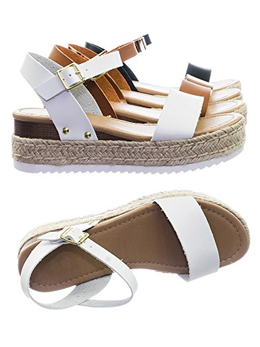 SODA Clip Tan Espadrille Flatform Sandals (6 M US, White)