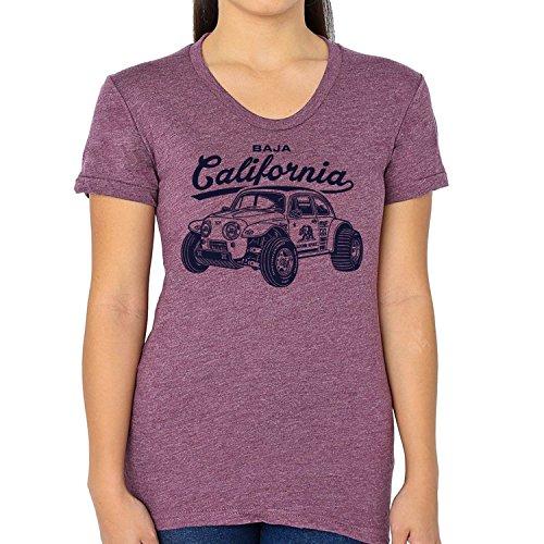 Dune Plum (GarageProject101 Women's (Junior Size) Baja Bug, Beetle T-Shirt XL Plum)