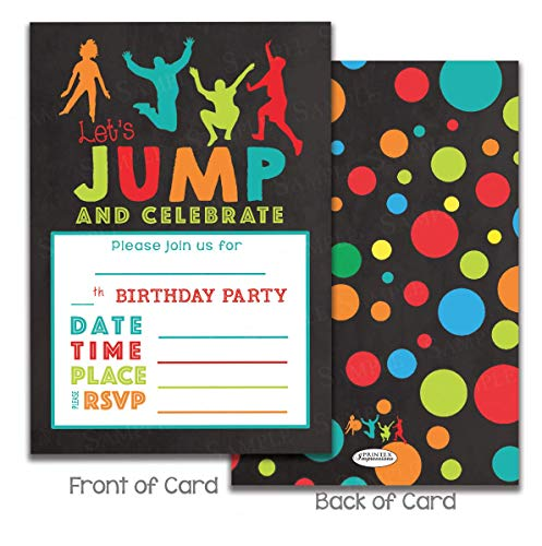 Kids Jumping Birthday Party invitations for Trampoline park