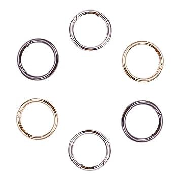 6pcs 25mm Circle Round Carabiner Spring Trigger Snap Clip Hook Buckles Keyrings