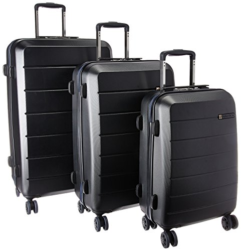 Nautica 3 Piece Hardside Spinner Luggage Set, Black/Black/ Navy