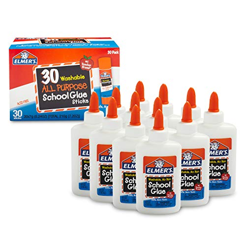 Stick School (Elmer's Liquid School Glue, Washable, 12 Pack and All Purpose School Glue Sticks, Washable, 30 Pack, 0.24-Ounce Sticks)