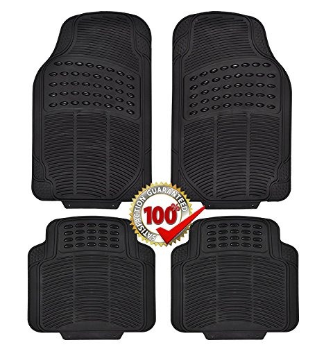 Rubber Floor Mats for Cars 4-Piece Full Set Universal Fit Mat for Car, SUV, Van & Trucks, Front & Rear, Driver & Passenger Seat Black