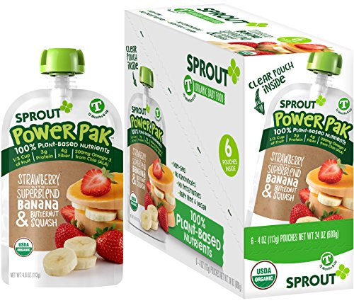 Organic Strawberry Butter - Sprout Organic Baby Food Pouches Sprout Organic Power Pak Toddler Food Pouch, Strawberry with Superblend Banana & Butternut Squash, 4 Ounce (Pack of 6); USDA Organic, 3 Grams of Protein, Plant Powered