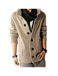 CXB1983(TM)Autumn Winter Men's Knit Cardigan Thick Korean Sweater Coat Casual Jacket