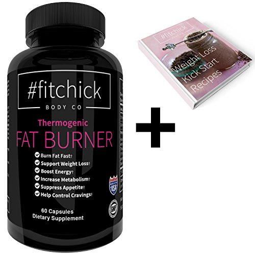 Best Women's Fat Burner Thermogenic by #fitchick Body Co | Powerful Natural Diet Pill that Melts Fat in Stubborn Areas Like Thighs, Hips, Stomach, and Butt | Female Energy and Metabolism Booster
