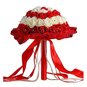 Clearance Sale!DEESEE(TM)Crystal Roses Pearl Bridesmaid Wedding Bouquet Bridal Artificial Silk Flowers 12