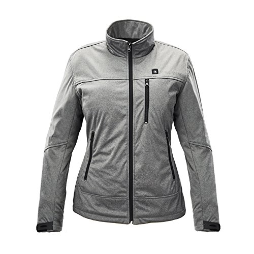 Kelvin Heated Jacket for Women - 5 Heat Zones + 10Hr Battery for The Ultimate Heated Coat   Charges Cell Phones, Extreme Weather + Wind Resistant, Cozy Polar Fleece Interior   Jackson, Grey - Small