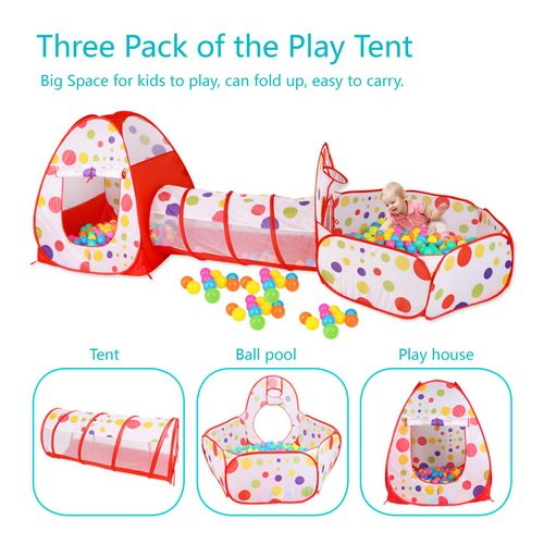 MAIKEHIGH Indoor Outdoor Play Tunnel and Tent Play Tent Cubby-Tube-Teepee Indoor Pop up Tent 3pc Outdoor Gamehouse Toy Hut Easy Fold Ocean Ball Pool with Basketball Hoop