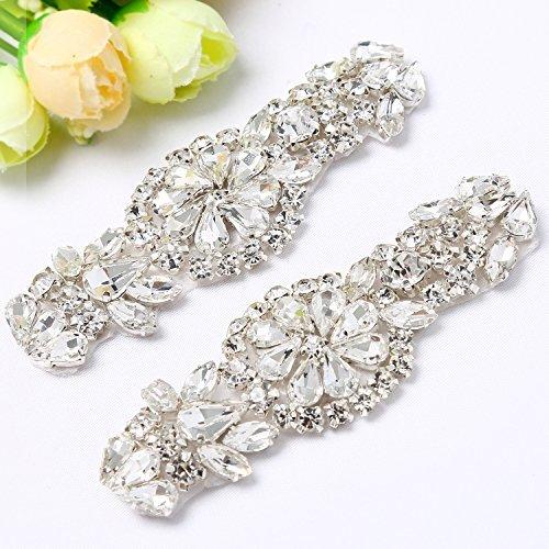 QueenDream Two Pieces Hot Fix Crystal Rhinestone Applique for DIY Dress Belt Bridal Sash Wedding Dress