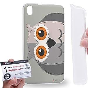 Case88 [HTC Desire 816] Gel TPU Carcasa/Funda & Tarjeta de garantía - Art Owl Animals Patches Series Art1629