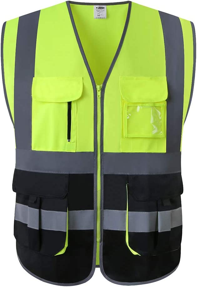 JKSafety 7 Pockets Class 2 High Visibility Zipper Front Safety Vest With Reflective Strips.Meets ANSI/ISEA Standards (Yellow-Black XL)