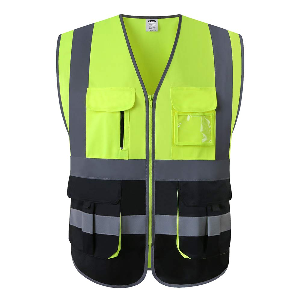 JKSafety Multi Pockets Class 2 High Visibility Zipper Front Safety Vest With Reflective Strips.Meets ANSI/ISEA Standards (Yellow-Black L)