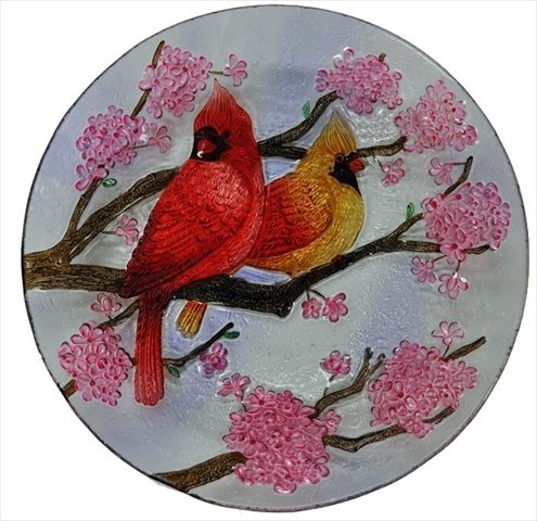 Continental Art Center Two Cardinals and Spring Flowers Glass Plate, 18-Inch by Continental Art