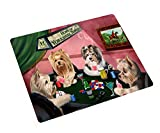 Yorkshire Terrier Tempered Cutting Board 4 Dogs Playing Poker
