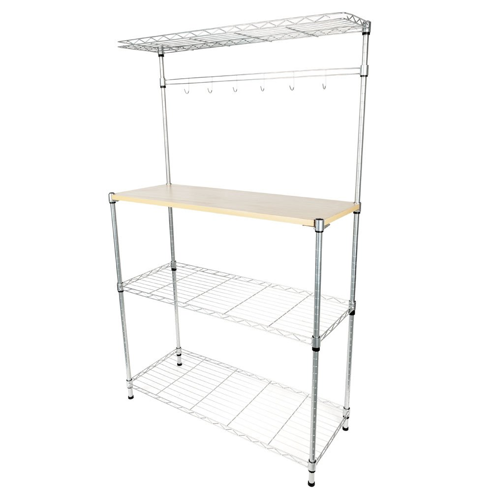 Ferty 4-Tier Kitchen Microwave Powder Coating Baker's Rack Microwave Oven Rack with Removable MDF Board & 6pcs Metal Wave Rod - 35.4'' L x 13.8'' W x 59'' H