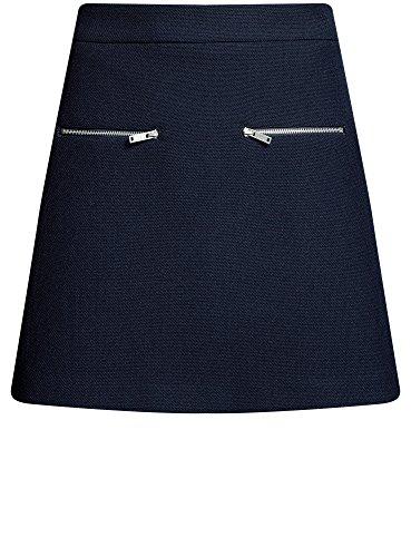 Femme Bleu 7900n avec Zips Jupe Dcoratifs oodji Ultra Trapze qxFfa05xz